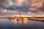 Stockholm skyline at sunrise, Sweden, Scandinavia