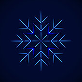 vector crystal blue simple snowflake, on blue background