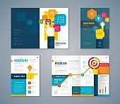 Cover Book Design Set, Buisiness Hands Pointing Icon vector Template Brochures