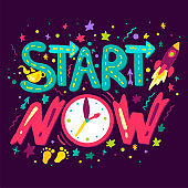 Start Now Concept With Rocket, Cup of Tea or Coffee and Clocks