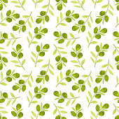 Pattern made of green olives leaves