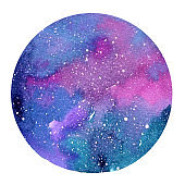 Watercolor abstract space in circle shape isolated on white background. Abstract Watercolor galaxy painting for postcards, banners, and posters.