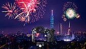Digital camera on Taipei cityscape with fireworks 1