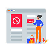 Vector illustration of a woman buying things on sale, online shopping