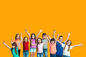 Happy success teensl celebrating being a winner. Dynamic energetic image of happy children