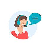 Call center operator, support, customer service illustration