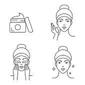 Skin care apply cream icons