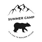 Summer Camp Illustration with Mountains and Bear