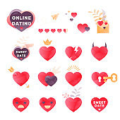 Romantic Hearts Icon Set