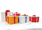 christmas gifts presents boxes 3d-illustration with Santa Claus and Reindeer