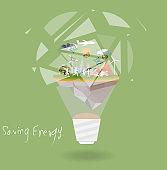 saving energy lamp bulb polygon