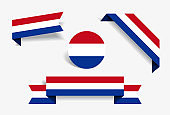Dutch flag stickers and labels. Vector illustration.