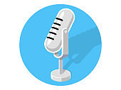 Vintage microphone illustration . Retro microphone vector icon
