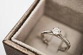 close up luxury wedding diamond ring in jewelry gift box
