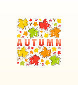 Autumn vector poster with maple leaves