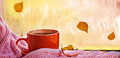 Cup of autumn tea, coffee, chocolate and yellow leaves on rainy window, copy space. Concept bright autumn.