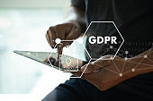 GDPR. Data Protection Regulation IT technologist Data Security system Shield Protection