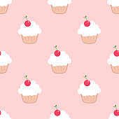 Sweet cupcake. Seamless vector pattern