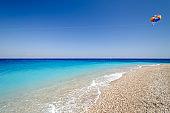 view on Akti Miaouli Beach in Rhodes town in Greece