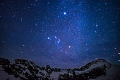 amazing starry sky above the summit of snowy mountains