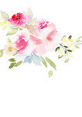 Greeting card with watercolor flowers handmade