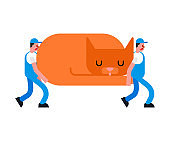 Movers and large cat. Porters carry Big pet. Delivery service. Loader mover man holding. Moving Vector illustration