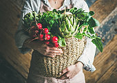 Female farmer holding basket of fresh garden vegetables, horizontal composition