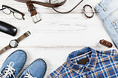 Fashion men's clothing and accessories in casual style flat lay, copy space