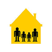 Family in home symbol. kind in house sign icon. Parents and children. Vector illustration