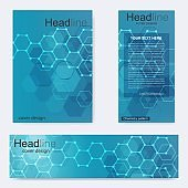 Set flyer, brochure size A4 template, banner. Molecular structure with connected lines and dots. Scientific pattern atom DNA with elements for magazine, leaflet, cover, poster design.