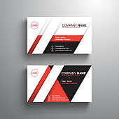 black white red design business card template, name card, vector illustration