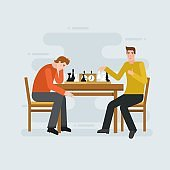 Two young men playing chess - flat vector illustration for banners, apps and web.