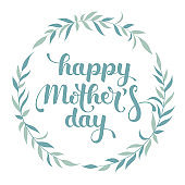 Happy Mother's Day hand lettering in a wreath