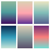 Colorful soft vector backgrounds gradient set. Abstract gradient collection design template.