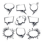 Big set hand drawn effects comic speech bubbles
