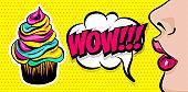 Summer comic text woman girl pop art