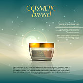 Vector 3D cosmetic illustration on a soft light background with flare effects. Beauty realistic cosmetic product design template.