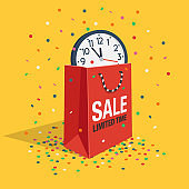 Special limited time sale symbol with shopping bag, wall watch and flying confetti