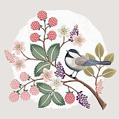 Vector illustration of a beautiful floral bouquet with a cute bird in spring.
