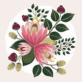 Vector illustration of a beautiful floral bouquet with spring flowers.