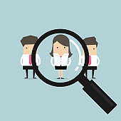 Searching for the best candidate businesswoman recruit concept.