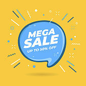 Mega Sale speech bubble shaped banners.