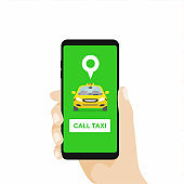 Hand Holding Smartphone and Call taxi by phone. Booking Taxi Via Mobile App.