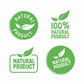 Set of vector stamps with leafs natural product.