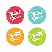 Thank you abstract vector flat style badges . Customer service symbol.