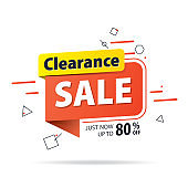 Yellow orange tag Clearance sale 80 percent off promotion website banner heading design on graphic white background vector for banner or poster. Sale and Discounts Concept.