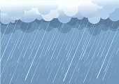 Rain.Vector image with dark clouds in wet day