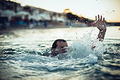 Man Having Difficulty Swimming