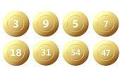 Vector Golden Bingo balls