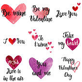 Happy Valentine's day watercolor hearts set, lettering confessions of Love.